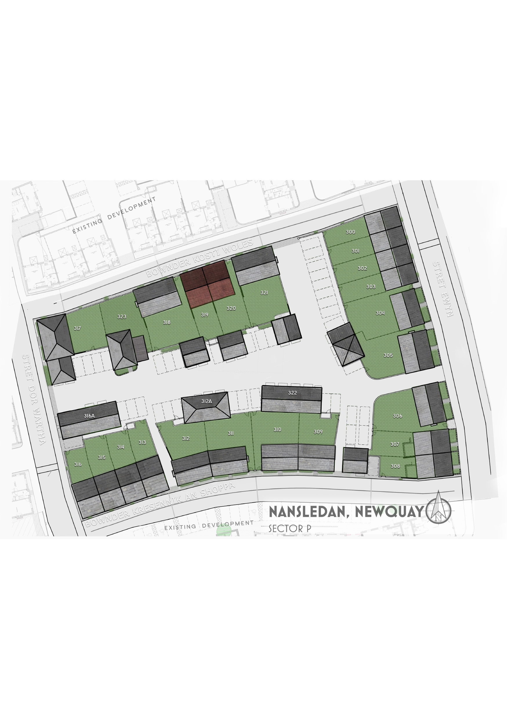 Sector P Nansledan site plan coloured
